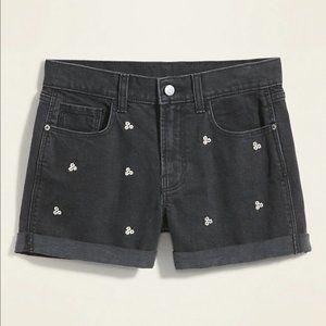 NWT Embroidered-Daisy Boyfriend Black Jean Shorts